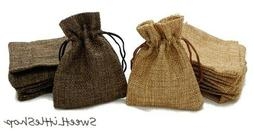 SMALL Drawstring Burlap Wedding Favor Bags Natural Jewelry P