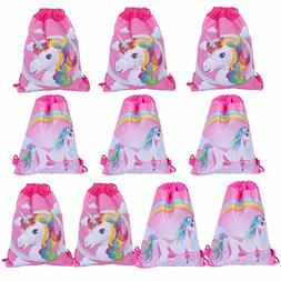 BraveWind 10 Packs Unicorn Drawstring Bags Party Favors Gift