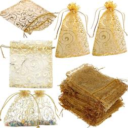 100 NEW Organza Bags Wedding Favour Pouches Jewellery Mesh P