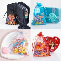 100pc Sheer Drawstring Organza Bags Jewelry Pouches Wedding