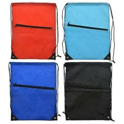 """17""""x14"""" Solid Color Drawstring Backpack Bag With Outter Zipp"""