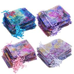 50/100 Coralline Organza Gift Bags Xmas Jewelry Pouch Drawst