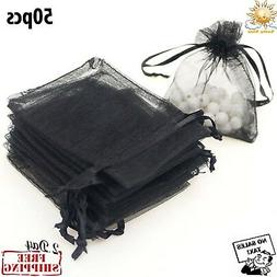 50 Bag Gift Small Black Velvet Cloth Jewelry Pouch Drawstrin