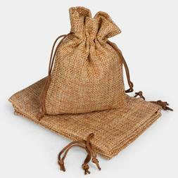 50PCS Linen Burlap Bags with Jute Drawstring for Gift Bags W