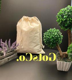 """6""""x8"""" inch Natural Cotton Double Drawstring Bags / Pouches ~"""