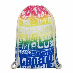 Artone Gradient Letters Drawstring Bag Travel Daypack Sports