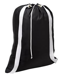 "Backpack Laundry Bag, Black - 22"" X 28"" - Two shoulder strap"