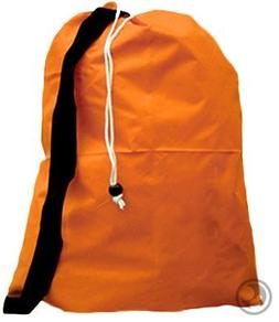 Large Laundry Bag with Drawstring and Strap, Color: Orange,