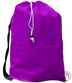 Large Laundry Bag with Drawstring and Strap, Color: Purple,S