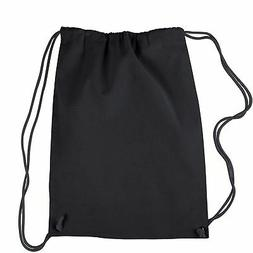 Lot of 4 Black Drawstring Backpacks Customize Blank Personal