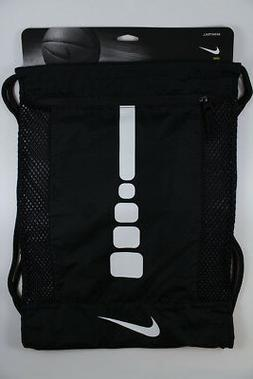 NIKE HOOPS ELITE GYMSACK BLACK/WHITE DRAWSTRING BAG BACKPACK