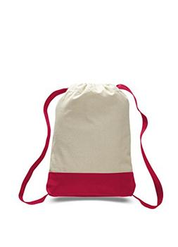 Pack of 6-12 oz Cotton Canvas Two Tone Sports Backpack with
