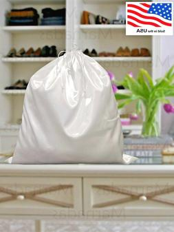 White Satin Dust Bag Covers Dustproof Drawstring Storage Lar