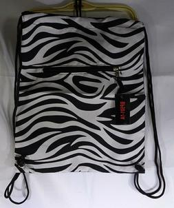 World Traveler 15 Inch Drawstring Backpack Bag Zebra Stripes