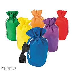 Fun Express Assorted Rainbow Drawstring Non-Woven Bags