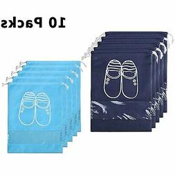 New 10 Pcs Shoe Bags Dust-proof Drawstring with Window Trave