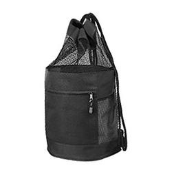 Black Drawstring Laundry Beach Bag With Mesh And Zippered Po