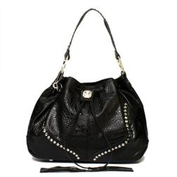 Raviani Black Embossed Croco Leather Large  Drawstring Bag W