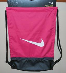 NIKE BRASILIA GYMSACK Pink Black White SWOOSH  Gym Bag Back