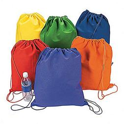 Fun Express Large Bright Canvas Drawstring Backpacks  - Bulk