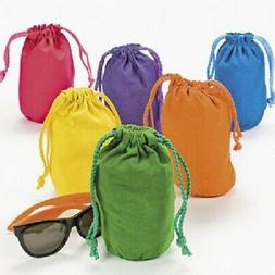 Lot of 12 Bright Color Drawstring Bags Loot Sack Party Favor