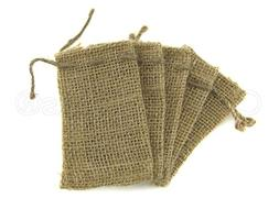 "CleverDelights 2"" x 3"" Burlap Bags with Natural Jute Drawstr"