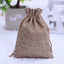 50PCS Burlap Bags with Drawstring Gift Jute bags Included Co