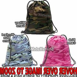 CAMO Cinch Sack SWEATSHIRT MATERIAL Drawstring Gym Tote Lock