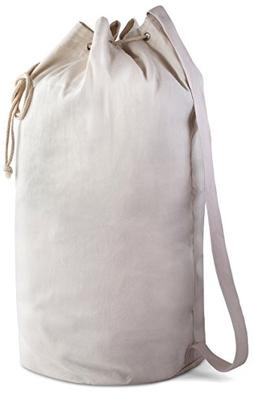 Canvas Duffel Bag - Drawstring with Leather Closure and Shou