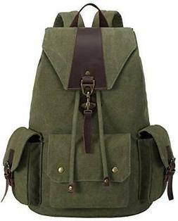 BLUBOON Canvas Vintage Backpack Leather Casual Bookbag Men W