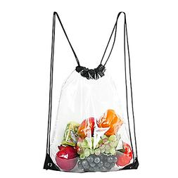 Clear Drawstring Bag Backpack 13x16 Waterproof Stadium Conce