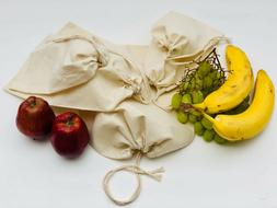 Reusable Cotton Muslin Bag. 100% Cotton Organic Produce Stor