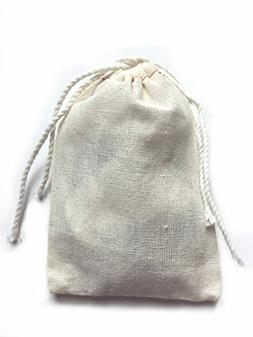 Small Cotton Muslin Cloth Double Drawstring Bag 3x5 inch 25
