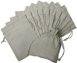 100 Percent Cotton Muslin Drawstring Bags 12-Pack For Storag