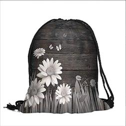 Draw pocket Polyester Backpack Antique Old Planks American S