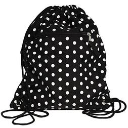 World Traveler 15 Inch Drawstring Backpack Bag, Black White