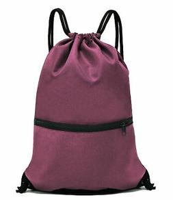 HOLYLUCK Drawstring Backpack Bag Sport Gym Sackpack Burgundy