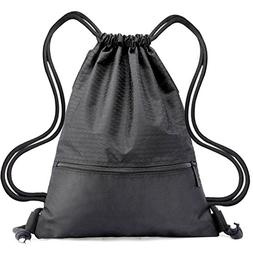 Drawstring Backpack Bag String Waterproof Sackpack Black Spo