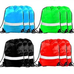 Drawstring Backpack Bags - 12 Pack Reflective Sack Backpack