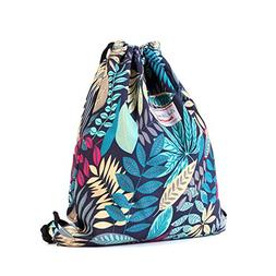 Drawstring Backpack Original Floral Leaf Tote Bags Sackpack