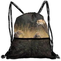 Sport Drawstring Backpack Sport Gym Bag Beatybag,Cheetah Fam