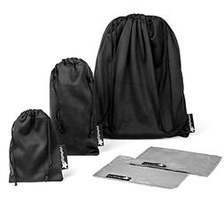 Small Drawstring Bag Set of 3 Premium Black Travel Carry Pou