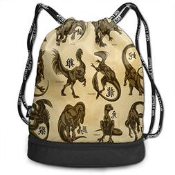 Drawstring Bag Chinese Dinosaur Womens Gym Backpack Personal
