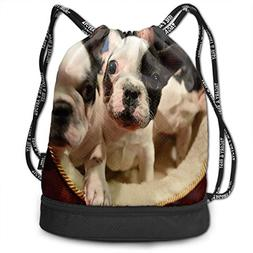Drawstring Bag Cute French Bulldog Womens Gym Backpack Vinta