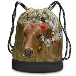 Drawstring Bag Dressed Flowers Daisies Womens Gym Backpack P