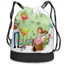 Drawstring Bag Boy Playing Music For Girl Womens Gym Backpac