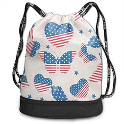 All agree Drawstring Bag USA Independence Day Womens Gym Bac