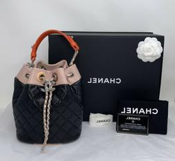CHANEL DRAWSTRING BUCKET BAG QUILTED MULTI COLOR NEW