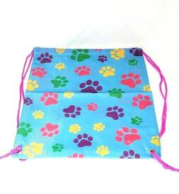 Drawstring Gym Bag Library Travel Paw Print Pink String Back