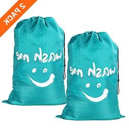 Wimaha 2 Pack Drawstring Laundry Bag Extra Large Durable Han